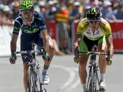 Alejandro Valverde (left) of Spain and the Movistar Team edged out Simon Gerrans during the fifth stage of the Tour Down Under on Saturday in Adelaide, Australia.