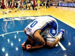 Austin Rivers (0) reacts after a loss to Florida State at the buzzer at Cameron Indoor Stadium in Durham, N.C. Florida State ended Duke's 45-game winning streak at home.