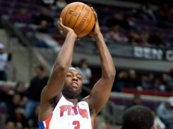 Pistons point guard Rodney Stuckey takes a jump shot  against the Trail Blazers on Saturday night. Stuckey led Detroit with 28 points.