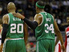 Injuries and lack of conditioning have left veteran Boston Celtic players, such as Ray Allen, left, and Paul Pierce slow to get on track during the compressed NBA schedule.