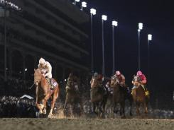 Drosselmeyer, left, won the Breeders' Cup Classic last November in the dark at Churchill Downs.