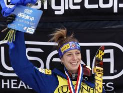 Hannah Kearney after winnning the women's moguls World Cup freestyle skiing event in Lake Placid. This was her 11th consecutive victory.