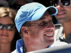 Ivan Lendl, the coach of Andy Murray of Britain, smiles during Murray's victory aginst Mikhail Kukushkin of Kazakhstan.