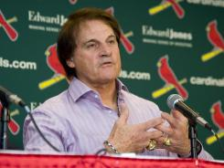 Tony La Russa announced his retirement from managing during an Oct. 31, 2011, press conference at Busch Stadium in St. Louis. He managed the Cardinals for 16 years and 33 seasons overall.