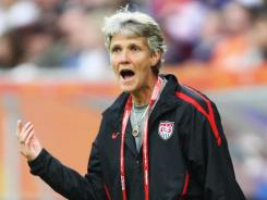 Coach Pia Sundhage, shown here in July 2011, has just overseen two of the most lopsided scores in the history of U.S. women's soccer.