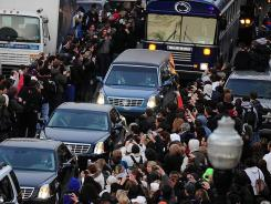 After the funeral Wednesday, the hearse carrying Joe Paterno made its way through campus as students and other mourners lined the streets.