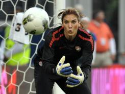 "Team USA goalie Hope Solo, here during pregame warm-ups at a September 2011 match, isn't quite in game shape after taking time off for a stint on ""Dancing with the Stars."""