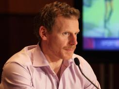 Daniel Alfredsson addresses a news conference before the All-Star fantasy draft.