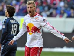 Tim Ream of the New York Red Bulls reacts to a call by the referee during the first half against the Los Angeles Galaxy at Red Bull Arena on Oct. 30, 2011 in Harrison, N.J.