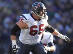 Texans G Mike Brisiel looks for a block in the divisional playoff round at Baltimore.