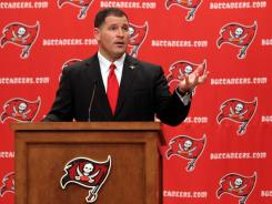 New Buccaneers head coach Greg Schiano speaks during his first news conference at One Buc Place.