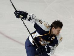 Shea Weber winds up during hardest shot event in the 2011 All Star skills competition.