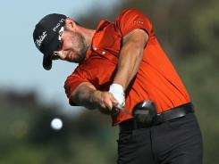 Kyle Stanley, here hitting his tee shot on the fifth hole during the third round of the Farmers Insurance Open, nearly set a 54-hole record before settling for a 68, which put him at 18 under heading into Sunday's final round.