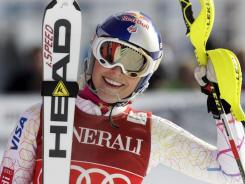 Lindsey Vonn smiles after winning the World Cup downhill race Saturday in St. Moritz, Switzerland.