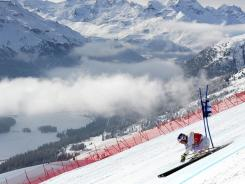 Lindsey Vonn competes during the FIS Alpine World Cup women's super combined, on Sunday in St.Moritz.