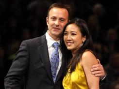 Michelle Kwan hugs Brian Boitano during a ceremony for her induction into the U.S. Figure Skating Hall of Fame during the U.S. Championships on Saturday in San Jose.