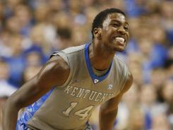 Kentucky forward Michael Kidd-Gilchrist reacts after a basket against Tennessee during the second half at Rupp Arena.
