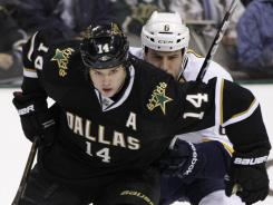 Dallas Stars left wing Jamie Benn, front, and Nashville Predators defenseman Shea Weber during game last December.
