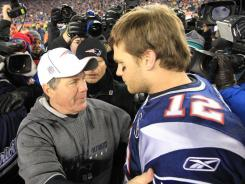 In 12 years together, Bill Belichick, left, and Tom Brady have 124 regular-season wins, nine division titles and three Super Bowl titles.