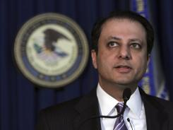 U.S. Attorney Preet Bharara, shown during an unrelated news conference last month, said piracy costs sports leagues millions of dollars, costs that are passed on to fans.