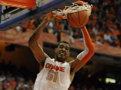 Fab Melo is averaging 7.2 points and 5.7 rebounds per game this season.