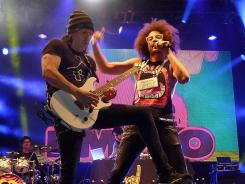 The band LMFAO performs on the Verizon Stage Friday night at the Super Bowl Village in Indianapolis.