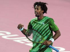 Gael Monfils of France pumps his fast after defeating countryman Gilles Simon in the semifinals of the Open Sud de France.