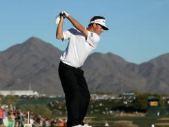Spencer Levin, here teeing off on the 17th hole, had four birdies in Saturday's third round.