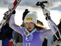 Julia Mancuso celebrates after winning a women's World Cup super-G in Garmisch-Partenkirchen, Germany, on Sunday.