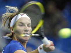 Svetlana Kuznetsova lines up a forehand during her singles victory Snday against Silvia Soler-Espinosa of Spain.
