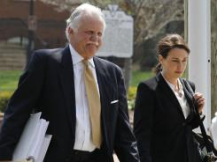 George Huguely's attorneys Francis Lawrence and Rhonda Quagliana in front of the Charlottesville Circuit Court on Monday.