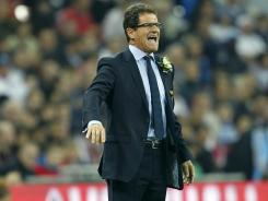 England's Italian manager Fabio Capello gestures during an international friendly between England and Spain at Wembley Stadium in London on Nov. 12, 2011.
