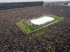 Michigan Stadium hosted the Big Chill hockey game between Michigan and Michigan State on Dec. 11, 2010.