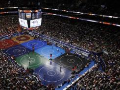 The NCAA championships, such as those in 2011 in Philadelphia, regularly draw sellout crowds. Organizers of Mat Mayhem hope to boost attendance for regular-season dual meets.