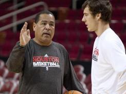 As a Rockets assistant coach, Kelvin Sampson works with young players like Goran Dragic.