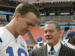 Indianapolis Colts quarterback Peyton Manning, left, and Colts owner Jim Irsay have had a contentious public relationship in 2012.