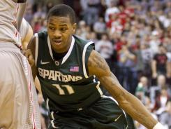 Keith Appling chipped in 14 points to help Michigan State pull into a tie with Ohio State for first place in the Big Ten.