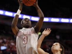 Amber Stokes (3) chipped in 14 points as Ohio State topped Purdue to create a four-team tie atop the Big Ten.