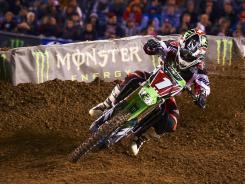 Ryan Villopoto drives his Kawasaki to victory during Saturday night's event at Qualcomm Stadium in San Diego. Villopoto became the first three-time winner of the 2012 season and extended his championship points lead to six over Chad Reed.