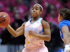 Tennessee guard Briana Bass (1) brings the ball up court against the Kentucky at Thompson Boling Arena.