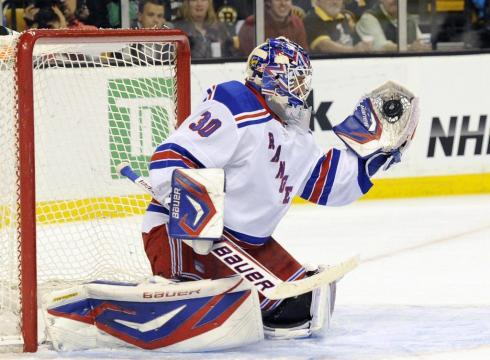 Rangers goalie Henrik Lundqvist makes a glove save during the first    Henrik Lundqvist Glove Save