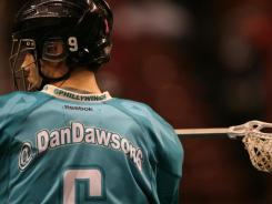 Dan Dawson of the Philadelphia Wings wears a jersey with his Twitter handle.