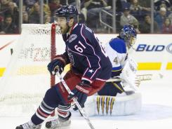 Right wing Rick Nash (61) is one of the NHL's rare pure goal scorers, according to former NHL star Jeremy Roenick.