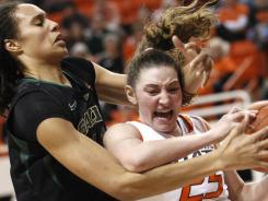 Oklahoma State forward Lindsey Keller (25) is fouled by Baylor 's Brittney Griner, left, during the second half in Stillwater, Okla.