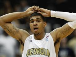 Georgia Tech's Glen Rice Jr. walks down the court after a foul call against Georgia Tech during a recent game against Boston College. Rice was suspended Friday by coach Brian Gregory. No reason was given.