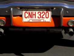 "The license plate of the ""General Lee"" car, purchased by PGA Tour golfer Bubba Watson, is shown."