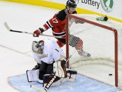 Devils forward Ilya Kovalchuk (17) scores a shootout goal against Anaheim Ducks goaltender Jonas Hiller during their Friday matchup. The goal helped defeat the Ducks, who fell for just the seventh time since the calendar turned.
