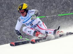 Austria's Marcel Hirscher cuts across the slope en route to winning Saturday's World Cup giant slalom in competes Bansko, Bulgaria.