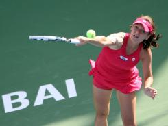 Agnieszka Radwanska of Poland serves up a victory Tuesday against Aleksandra Wozniak of Canada at the Dubai Championships.