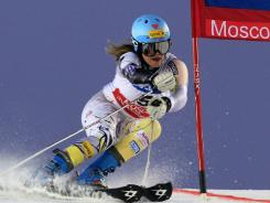 Julia Mancuso competes during a women's World Cup parallel slalom event in Moscow on Tuesday. She won the competition.